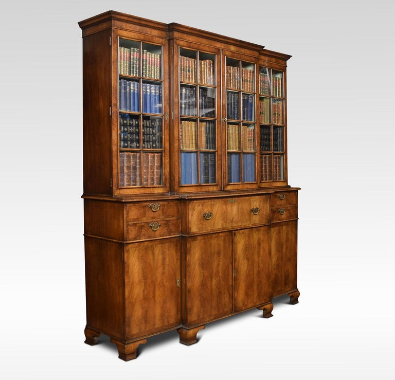 British Queen Anne Revival Walnut Four Door Breakfront Bookcase For Sale