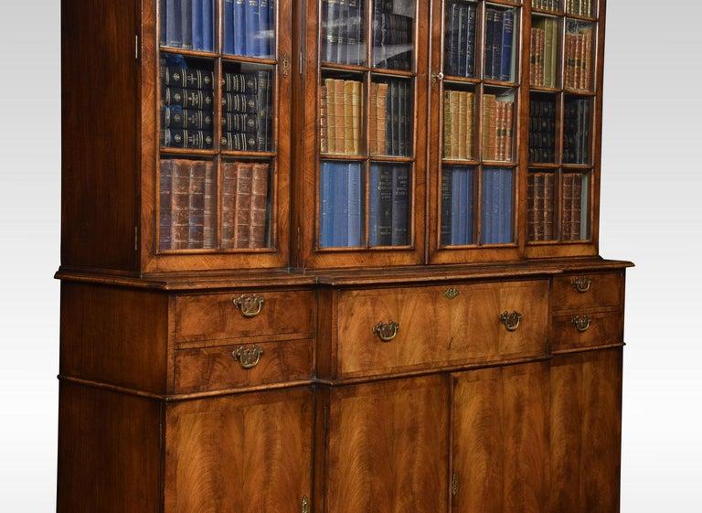 20th Century Queen Anne Revival Walnut Four Door Breakfront Bookcase For Sale