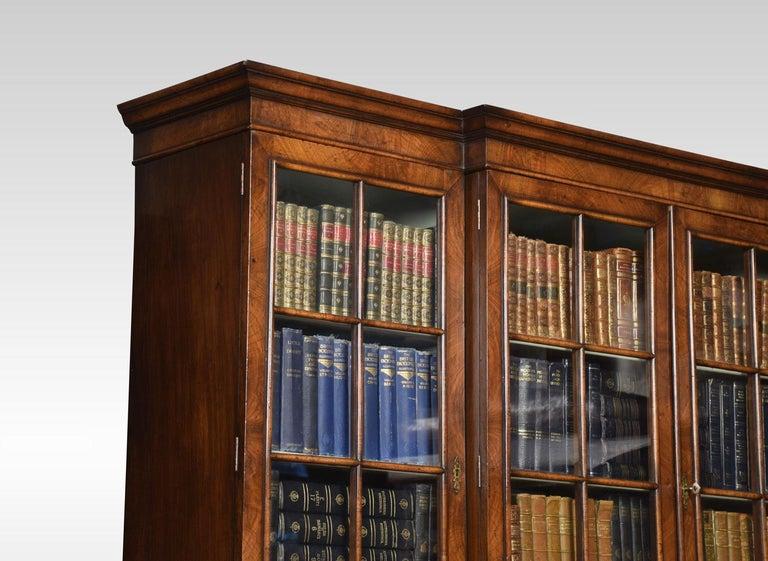 Queen Anne Revival Walnut Four Door Breakfront Bookcase For Sale 1