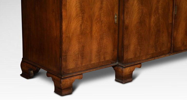 Queen Anne Revival Walnut Four Door Breakfront Bookcase For Sale 2