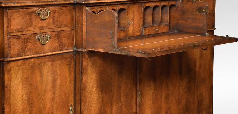 Queen Anne Revival Walnut Four Door Breakfront Bookcase For Sale 3