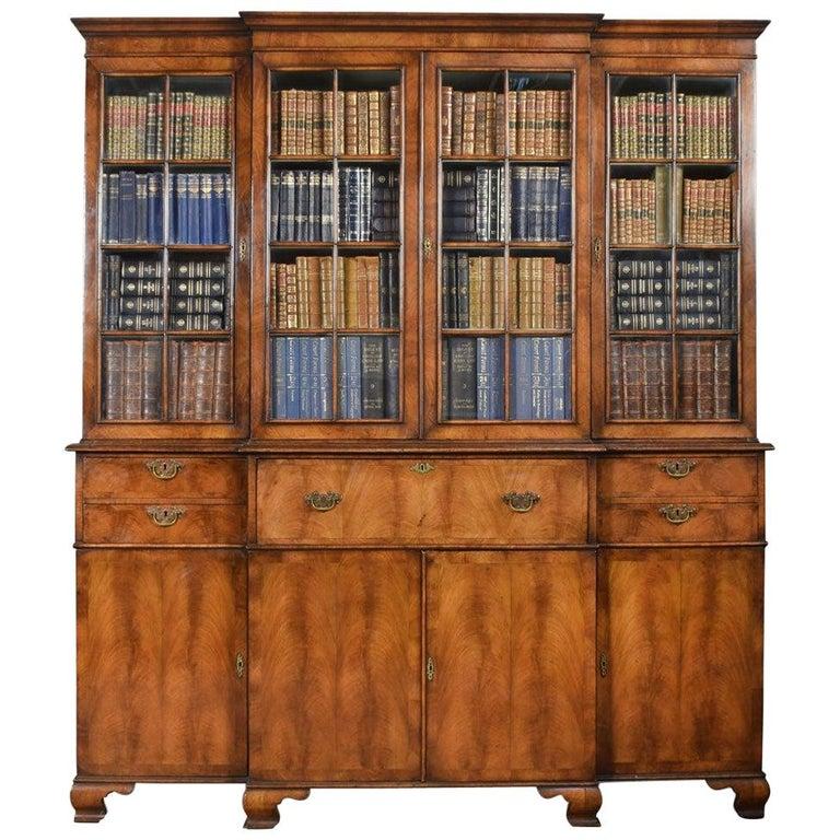 Queen Anne Revival Walnut Four Door Breakfront Bookcase For Sale