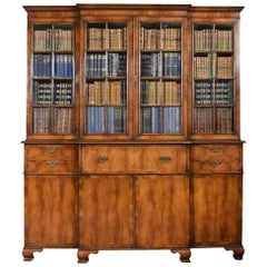 Queen Anne Revival Walnut Four Door Breakfront Bookcase