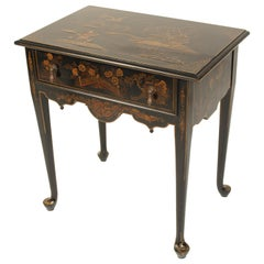 Queen Anne Style Black Chinoiserie Decorated Occasional Table
