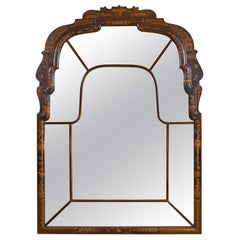 Queen Anne Style Black Lacquer, Hand Painted Oriental Mirror, circa 1920