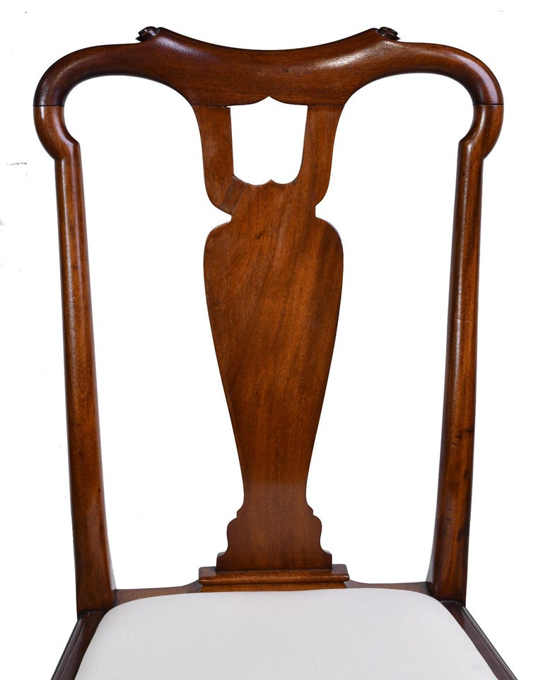 Queen Anne-Style Fiddle-Back Chair in Mahogany w/ Upholstered Slip Seat, c 1880 For Sale 1