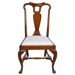 Queen Anne-Style Fiddle-Back Chair in Mahogany w/ Upholstered Slip Seat, c 1880