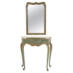 Queen Anne Style Chinoiserie Decorated Console and Mirror