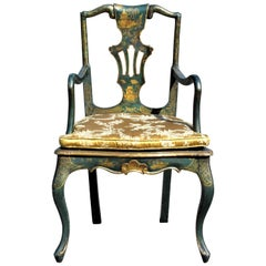 Queen Anne Style Chinoiserie Japanned Armchair