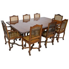 Queen Anne-Style Drop-Leaf Dining Table & Eight Louis XIV Style Chairs w/ Caning