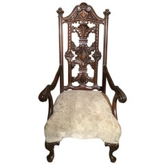 Queen Anne Style High Back Walnut Carved Chair