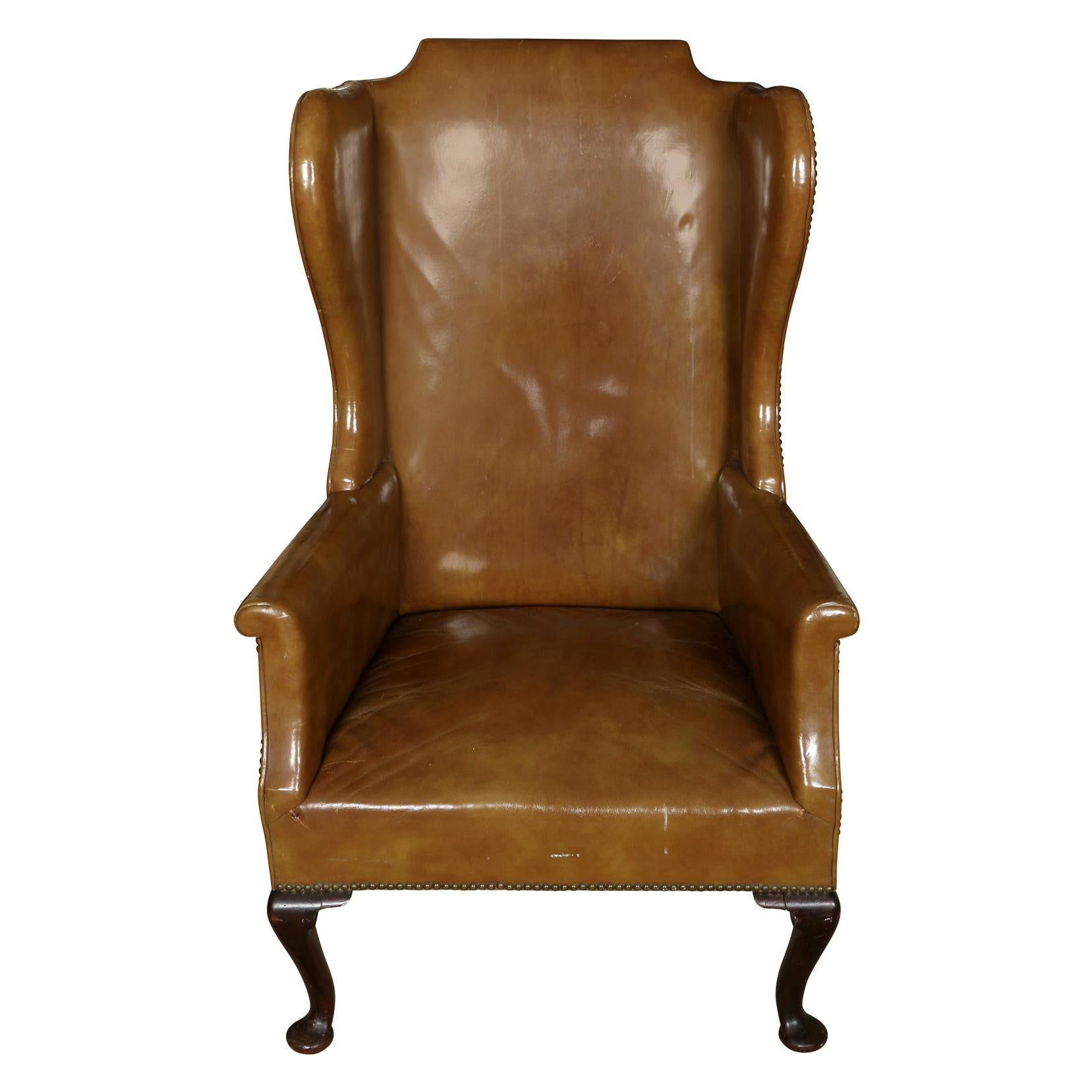Queen Anne Style Leather Wing Chair
