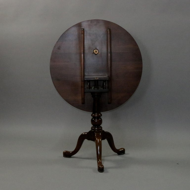 Queen Anne Style Mahogany Birdcage Tilt Top Table, 20th Century For Sale 1