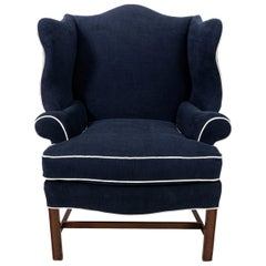 Queen Anne Style Mahogany Blue Upholstered Armchair