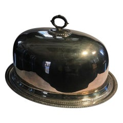 Queen Anne Style Silverplate Food Dome on Oval Tray