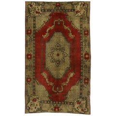 Queen Anne Style Vintage Turkish Oushak Area Rug