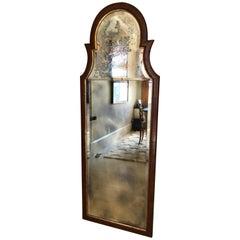 Queen Anne Style Walnut & Giltwood Tall Pier Mirror