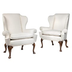 Queen Anne Style Walnut Wing Armchairs