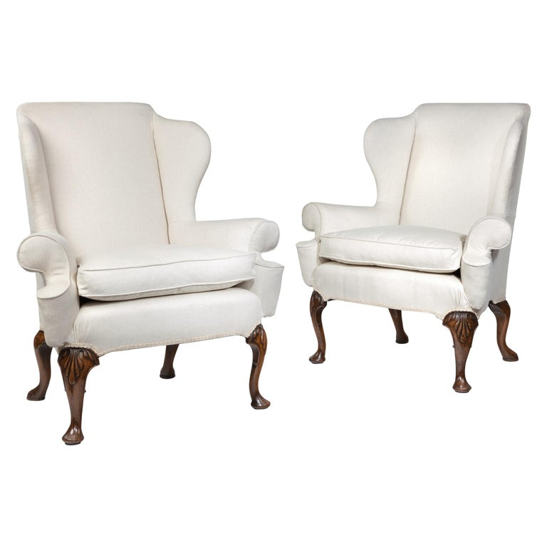 Queen Anne Style Walnut Wing Armchairs For Sale