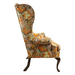Queen Anne Style Wing Chair with Exuberant 1970s Fabric