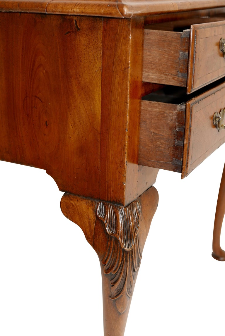 Queen Anne Walnut and Burl Walnut Lowboy, English Mid-18th Century For Sale 7