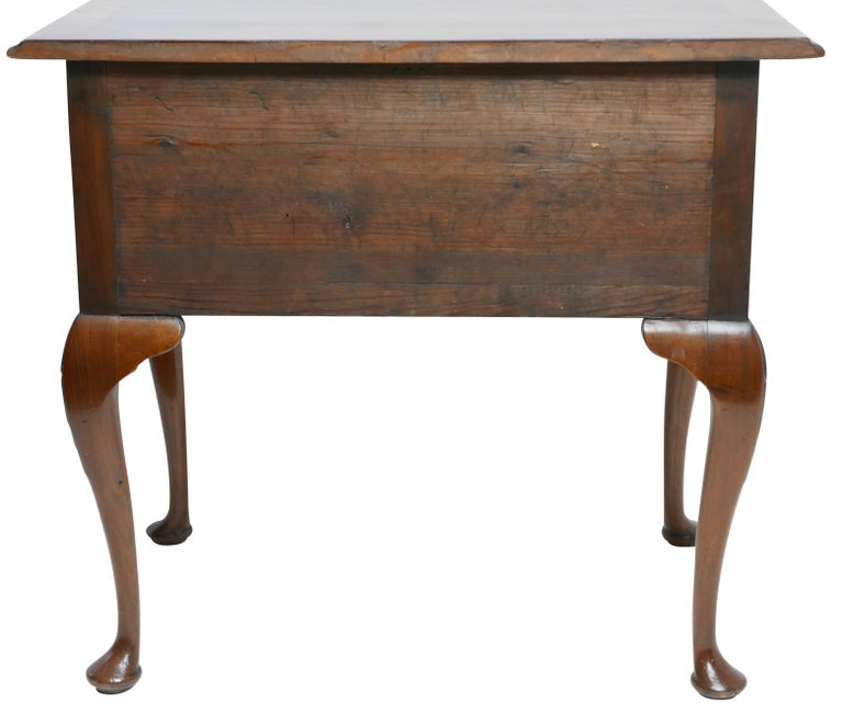 Queen Anne Walnut and Burl Walnut Lowboy, English Mid-18th Century For Sale 8