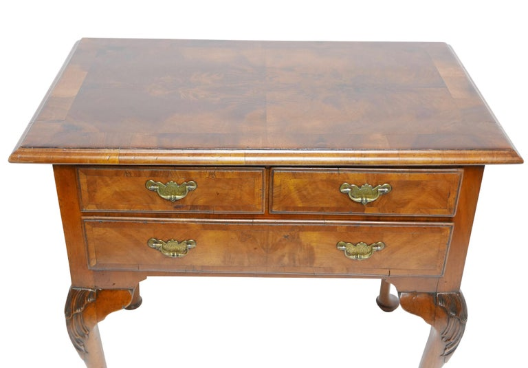 Queen Anne Walnut and Burl Walnut Lowboy, English Mid-18th Century For Sale 2