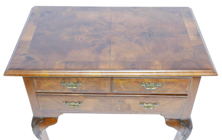 Queen Anne Walnut and Burl Walnut Lowboy, English Mid-18th Century For Sale 3