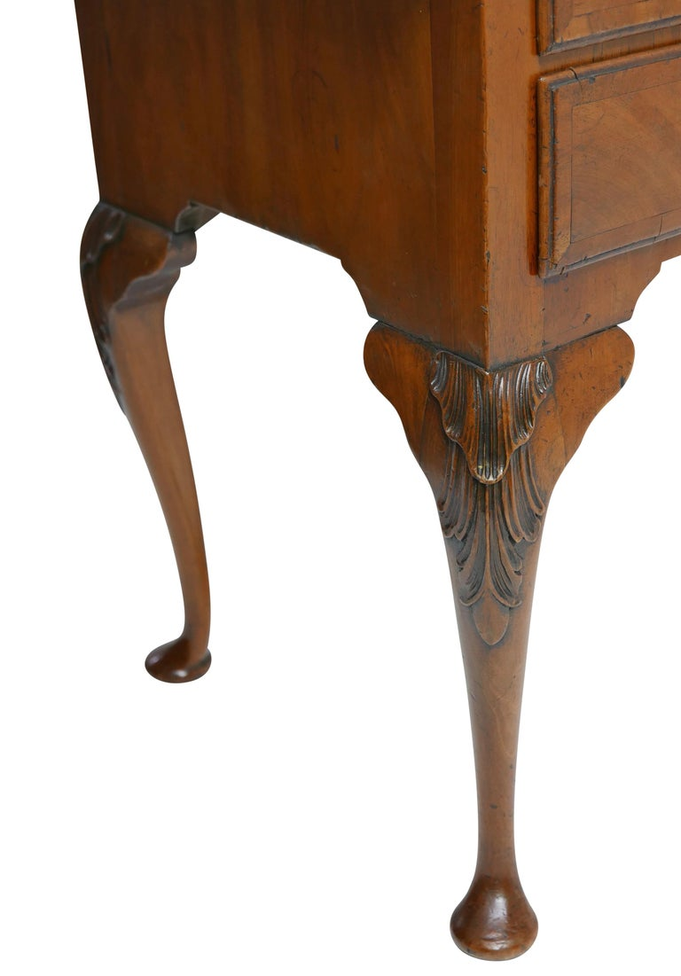 Queen Anne Walnut and Burl Walnut Lowboy, English Mid-18th Century For Sale 6