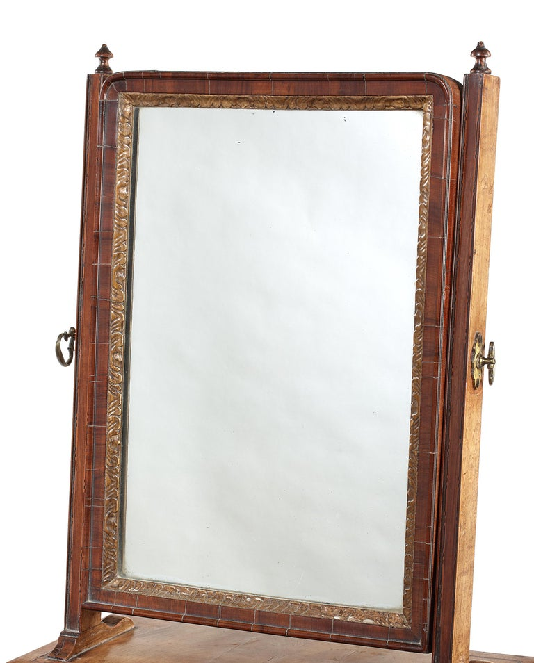 Veneer 18th Century Queen Anne Walnut and Chequerbanded Toilet Mirror For Sale