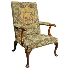 Queen Anne Walnut and Needlepoint Upholstered Armchair