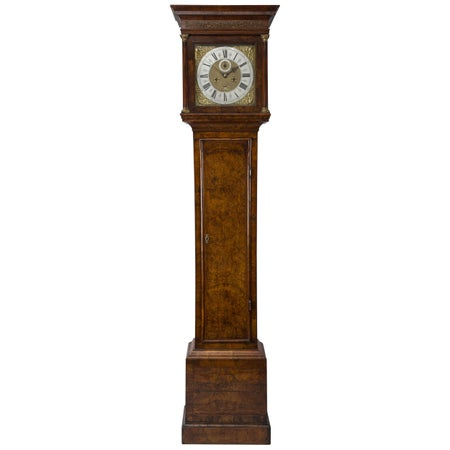 Queen Anne walnut longcase clock by Jonathan Lowndes, London