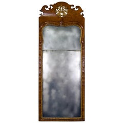 Queen Anne Walnut Parcel Gilt Mirror