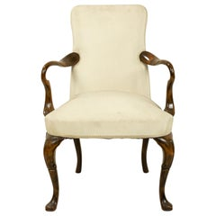 Queen Anne White Upholstered Walnut Armchair