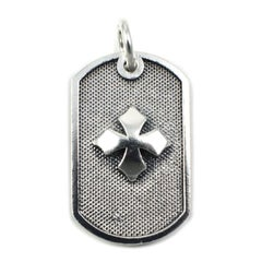 Queen Baby Sterling Silver Baby Dog Tag Cross Pendant