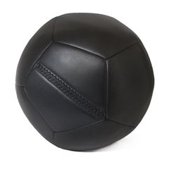 Medium Ball Ottoman in Black Leather by Moses Nadel