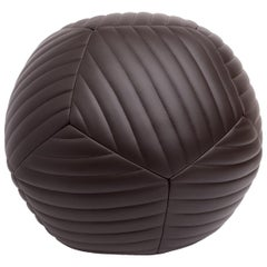 Medium Banded Ottoman in Chocolate Brown Leather by Moses Nadel