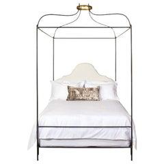 Iron Venetian Canopy Upholstered Queen Bed