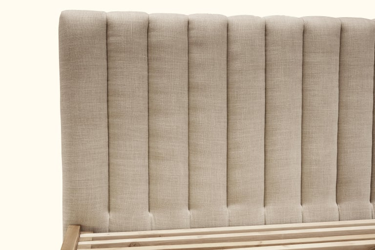 Queen Channel Tufted Linen and Walnut Capitan Bed by Lawson-Fenning For Sale 4