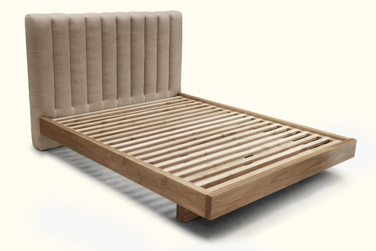 Queen Channel Tufted Linen and Walnut Capitan Bed by Lawson-Fenning For Sale 1