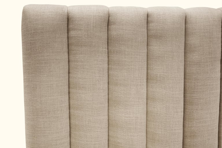 Queen Channel Tufted Linen and Walnut Capitan Bed by Lawson-Fenning For Sale 3