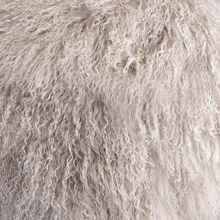 Hand-Crafted Medium Hudson Ottoman in Silver Grey Tibetan Lamb by Moses Nadel For Sale
