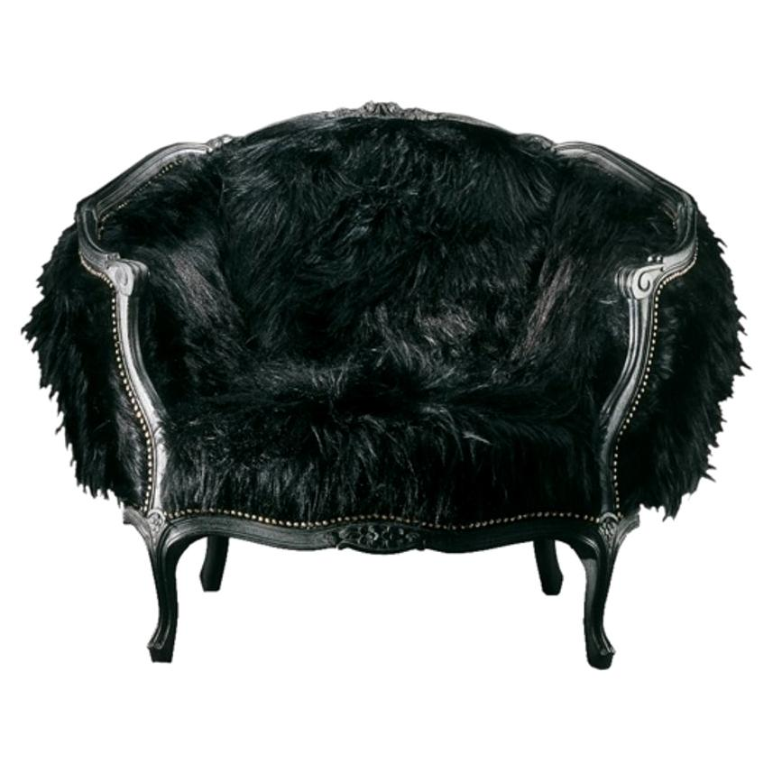 Queen Kong Lounge Armchair with Black Eco Fur Covering