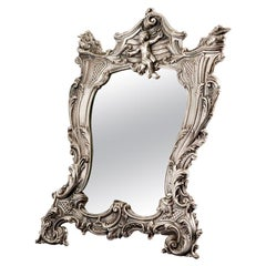 Queen Mirror, Silver Plated Lady Mirror, Made in Italy