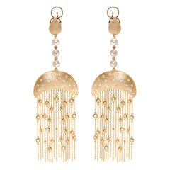 Queen Nefertari Vermeil Gold Drop Earrings with Charmed Tassels