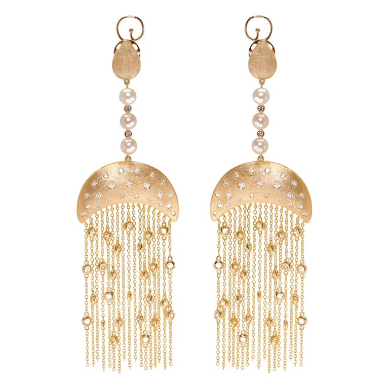 Ammanii Queen Nefertari Vermeil Gold Drop Earrings with Charmed Tassels For Sale