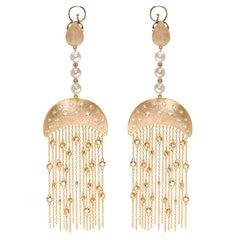 Queen Nefertari Vermeil Gold Drop Earrings with Tassels