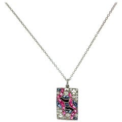 Queen of Clubs Multi Gem Charm / Pendent