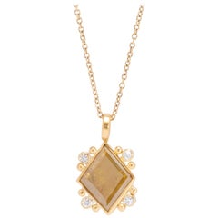 Queen of Diamonds Rose Cut Golden Diamond Pendant in 18 Karat Gold