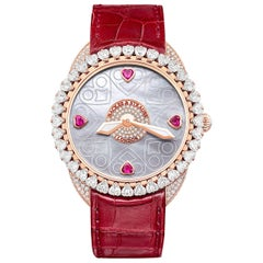 Queen of Hearts 40 Luxury Diamond Watch for Women, 18 Karat Rose Gold